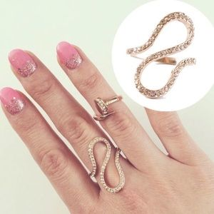 14K Rose Gold Pave Champagne Swirl Ring